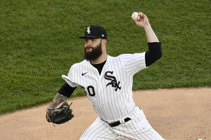 Chicago White Sox starting pitcher Dallas Keuchel delivers during the first inning of a baseball game against the Minnesota Twins Wednesday, May 12, 2021, in Chicago. (AP Photo/Charles Rex Arbogast)