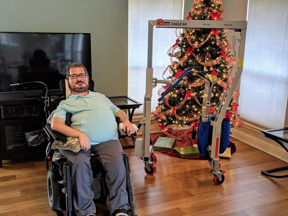 A disabled writer from Austin, Texas says Southwest Airlines is banning his medical device, which is necessary for him to fly. (Photo: Facebook/Jon Morrow)