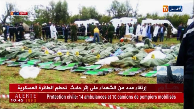 <p>In this still taken from Algerian TV network Ennahar showing body bags of victims placed near the scene after a military plane which crashed soon after takeoff from Boufarik military base, near the Algerian capital, April 11, 2018. (Photo: ENNAHAR TV via AP) </p>