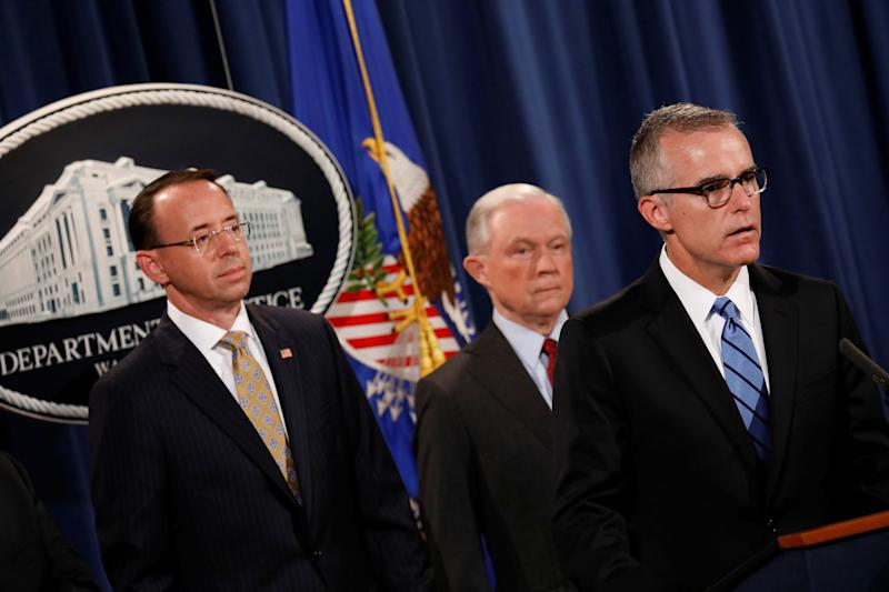 FBI acting Director Andrew McCabe speaks during a news conference, July 20, 2017.  (Aaron Bernstein / Reuters)