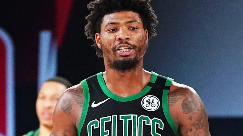 Boston Celtics guard Marcus Smart was reportedly at the centre of tense scenes in the locker room after their game two loss to the Miami Heat in the NBA's Eastern Conference Finals. (Photo by Jesse D. Garrabrant/NBAE via Getty Images)