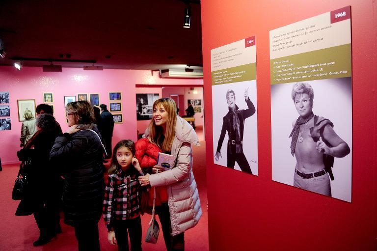 """Visitors look round the """"Here I am, Zeki Muren"""" exhibution on December 20, 2014 in Istanbul"""