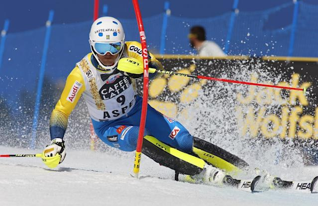 Sweden's Andre Myhrer skis during the first run of a men's World Cup slalom ski race Sunday, March 19, 2017, in Aspen, Colo. (AP Photo/Nathan Bilow)