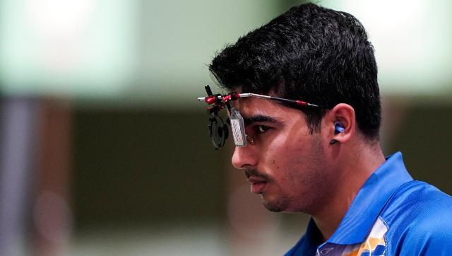 Saurabh Chaudhary in action during the men's 10m air pistol event. AP