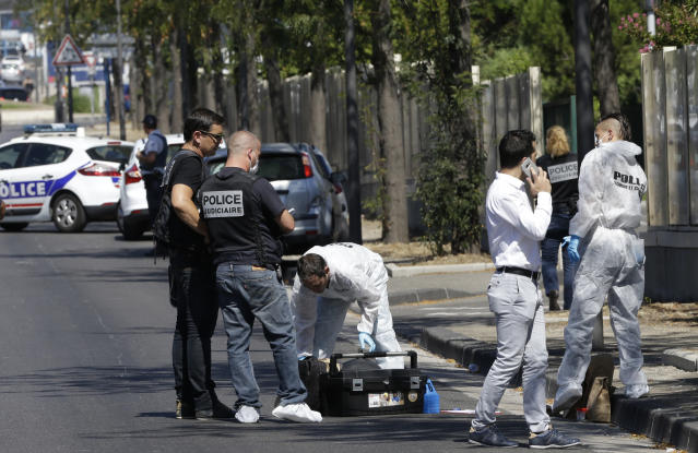 <p>French police officers work near a bus stop in La Valentine district after a van rammed into two bus stops in the French port city of Marseille, southern France, Aug. 21, 2017. (Photo: Claude Paris/AP) </p>