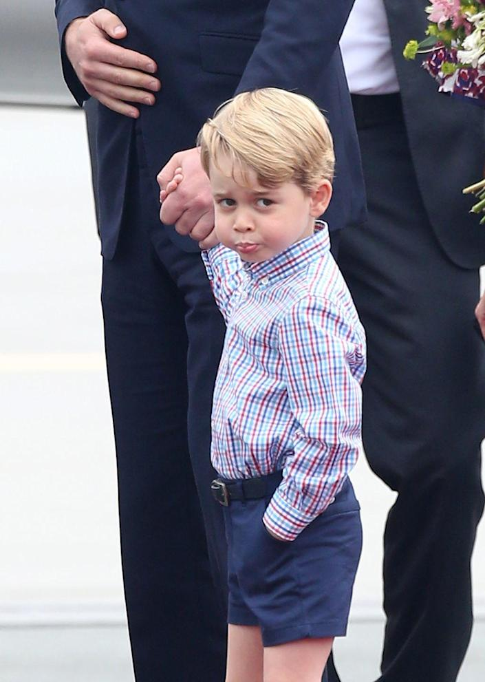 """<p>Prince George <a href=""""https://www.townandcountrymag.com/society/tradition/g10314634/photos-prince-george-princess-charlotte-royal-tour/"""" rel=""""nofollow noopener"""" target=""""_blank"""" data-ylk=""""slk:touched down in Poland"""" class=""""link rapid-noclick-resp"""">touched down in Poland</a> for a royal tour and, of course, the prince showed his adorably pouty face to the cameras. </p>"""