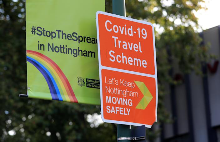 A Stop the Spread sign in Nottingham. Health officials are expecting the city to be placed in lockdown after a surge in Covid-19 cases. (Photo by Mike Egerton/PA Images via Getty Images)