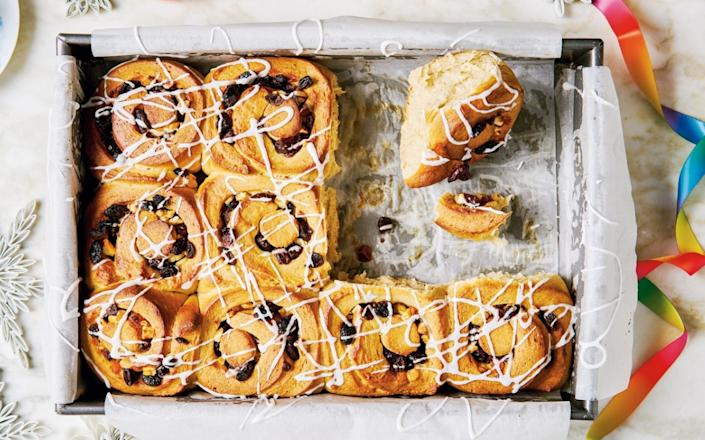 Diana Henry's spiral buns are inspired by the original festive bake, with spices, fruit and almond paste - HAARALA HAMILTON