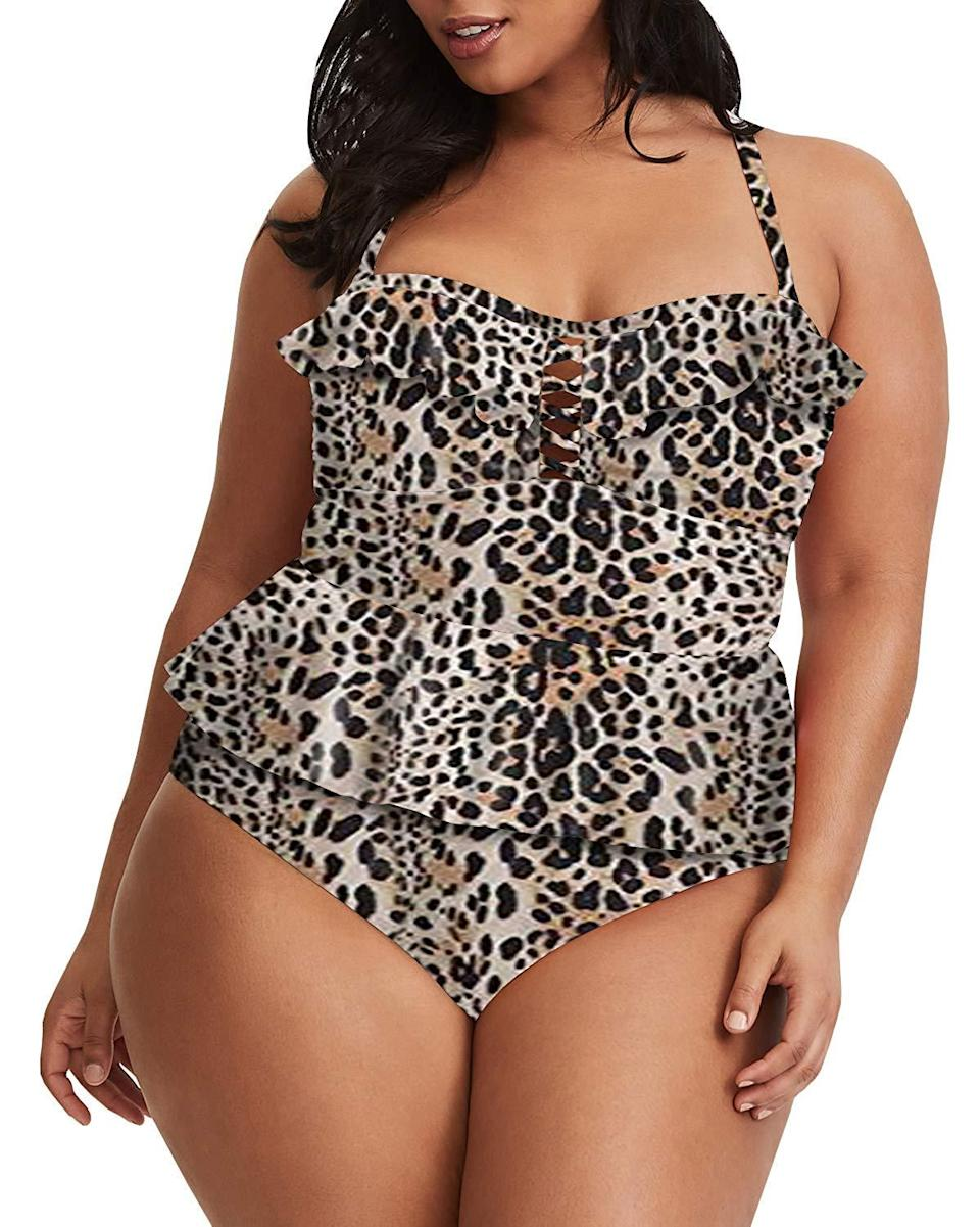 """One seriously satisfied reviewer claimed she'd landed on this tankini after years of searching for swimwear that flattered her frame. """"All around I adore this,"""" she raved. """"If you're a little bit curvy and have a hard time finding suits like me, then give this a try."""" Over 100 additional customers contributed positive feedback amounted to 4.3 stars.<br><br><strong>Tutorutor</strong> Peplum Tankini Swimsuit, $, available at <a href=""""https://www.amazon.com/Womens-Swimwear-Tankini-Control-Swimsuits/dp/B07Q2XCPTG/ref=sr_1_147?"""" rel=""""nofollow noopener"""" target=""""_blank"""" data-ylk=""""slk:Amazon"""" class=""""link rapid-noclick-resp"""">Amazon</a>"""