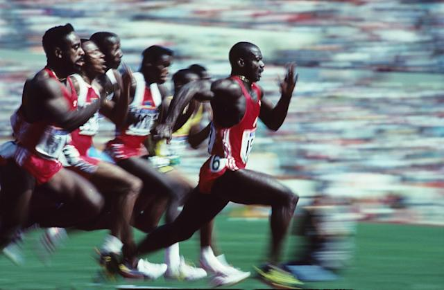 SEOUL, REPUBLIC OF KOREA - SEPTEMBER1988: Jamaican-born Canadian Ben Johnson speeds to win the Olympic 100m final in a world record 9.79 seconds September 24, 1988 at Seoul Olympic Stadium in Seoul, Korea. (Photo by Ronald C. Modra/Sports Imagery/Getty Images)