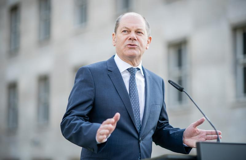 08 April 2020, Berlin: Olaf Scholz (SPD), Federal Minister of Finance, gives a press conference after the Eurogroup negotiations. Photo: Michael Kappeler/dpa (Photo by Michael Kappeler/picture alliance via Getty Images)