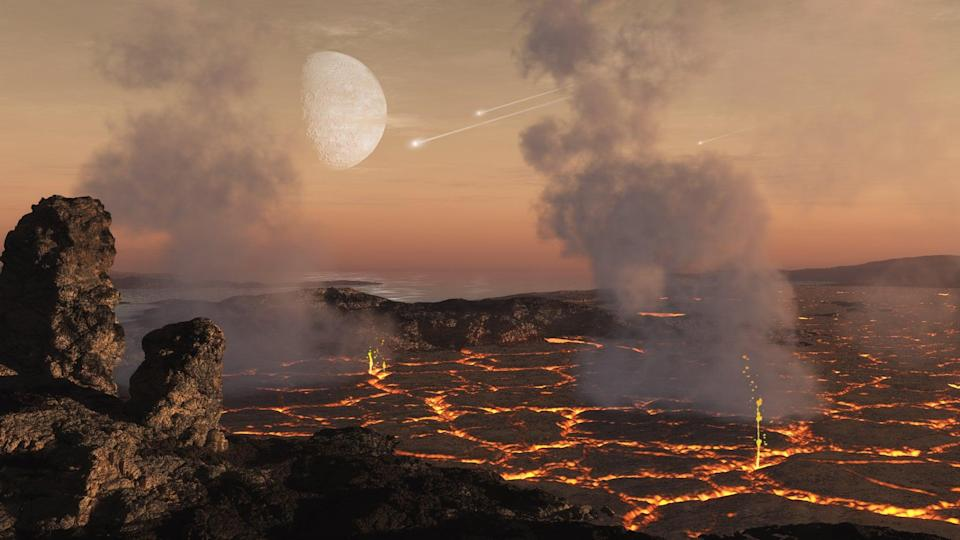 The early atmospheres of rocky planets are thought to form mostly from gases released from the surface of the planet as a result of the intense heating during the accretion of planetary building blocks and later volcanic activity early in the planet's development (Dan Durda/Southwest Research Institute)