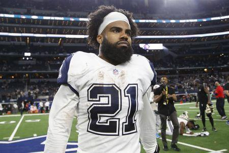 Nov 29, 2018; Arlington, TX, USA; Dallas Cowboys running back Ezekiel Elliott (21) leaves the field after a game against the New Orleans Saints at AT&T Stadium. Mandatory Credit: Tim Heitman-USA TODAY Sports
