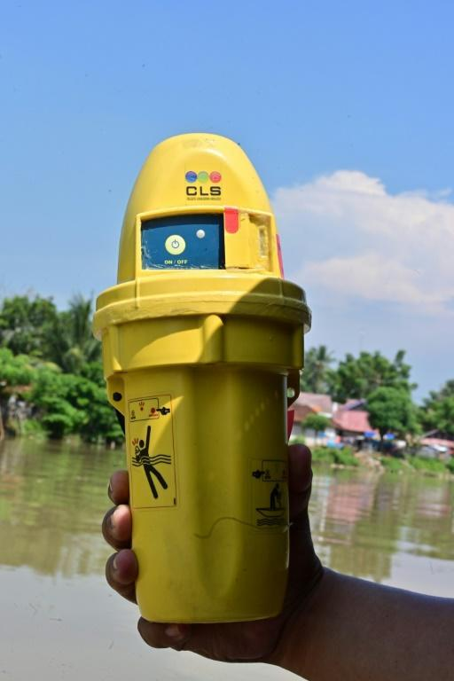 Plastic satellite beacons like this one are wrapped in waterproof covers and tossed into the mouths of rivers; they then transmit data hourly