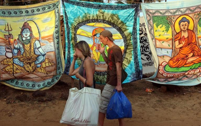 Tourists on the popular Anjuna Beach in Goa, near where the body of British teenager Scarlett Keeling was found in 2008
