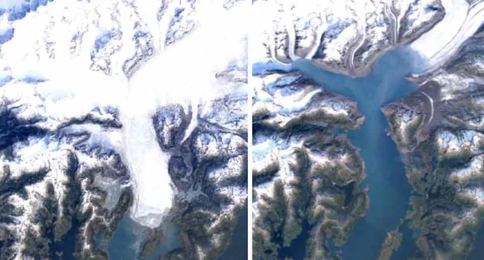 The receded Columbia Glacier Retreat in Alaska as shown on on Google Earth Timelapse. Source: Google Earth