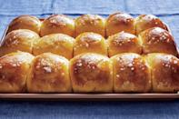 """<p><strong>Recipe: <a href=""""https://www.southernliving.com/recipes/sweet-potato-rolls"""" rel=""""nofollow noopener"""" target=""""_blank"""" data-ylk=""""slk:Sweet Potato Rolls with Cane Syrup Glaze"""" class=""""link rapid-noclick-resp"""">Sweet Potato Rolls with Cane Syrup Glaze</a></strong></p> <p>This is the only roll worth serving on your family table. Each fat sweet potato-flavored bite celebrates the season. </p>"""