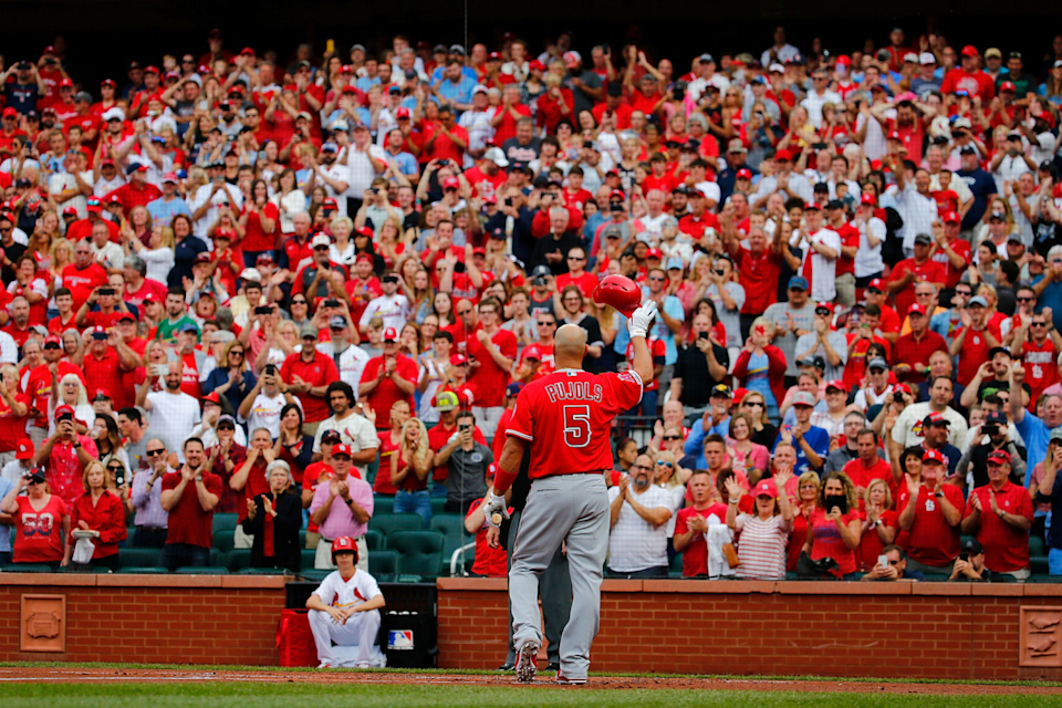 Albert Pujols acknowledges a standing ovation from the Busch Stadium crowd.