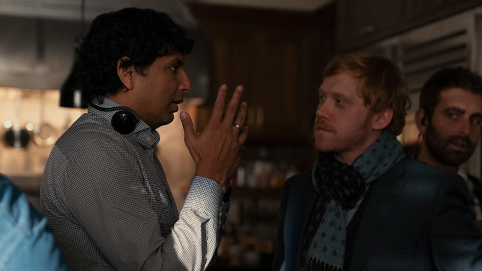 M. Night Shyamalan and Rupert Grint on the set of Apple TV+ show 'Servant'. (Credit: Apple)