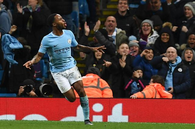 Manchester City's midfielder Raheem Sterling celebrates scoring the opening goal during the UEFA Champions League Group F football match against Feyenoord November 21, 2017 (AFP Photo/Paul ELLIS)