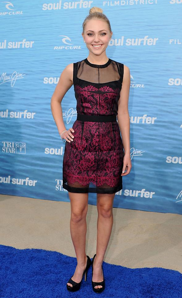 """<a href=""""http://movies.yahoo.com/movie/contributor/1808537117"""">AnnaSophia Robb</a> attends the Los Angeles premiere of <a href=""""http://movies.yahoo.com/movie/1810145691/info"""">Soul Surfer</a> on March 30, 2011."""