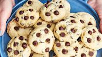 "<p>The softest chocolate chip cookies EVER...thank you cream cheese.</p><p>Get the recipe from <a href=""https://www.delish.com/cooking/recipe-ideas/recipes/a49527/chocolate-chip-cookie-clouds-recipe/"" rel=""nofollow noopener"" target=""_blank"" data-ylk=""slk:Delish"" class=""link rapid-noclick-resp"">Delish</a>. </p>"