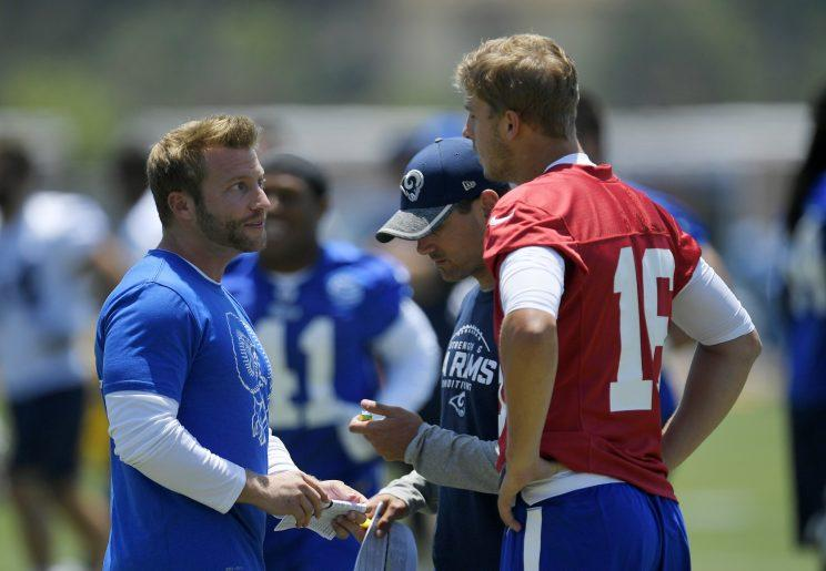 New Rams head coach Sean McVay works with second-year quarterback Jared Goff. (AP)