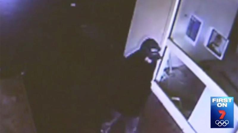 The hooded attacker is still on the loose. Photo: 7 News