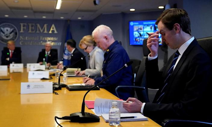 """<span class=""""element-image__caption"""">Jared Kushner attends a meeting at Fema headquarters in Washington with Donald Trump.</span> <span class=""""element-image__credit"""">Photograph: Evan Vucci/Reuters</span>"""