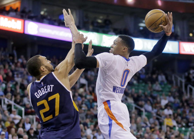The unstoppable Russell Westbrook and immovable Rudy Gobert will collide in the first round. (AP)