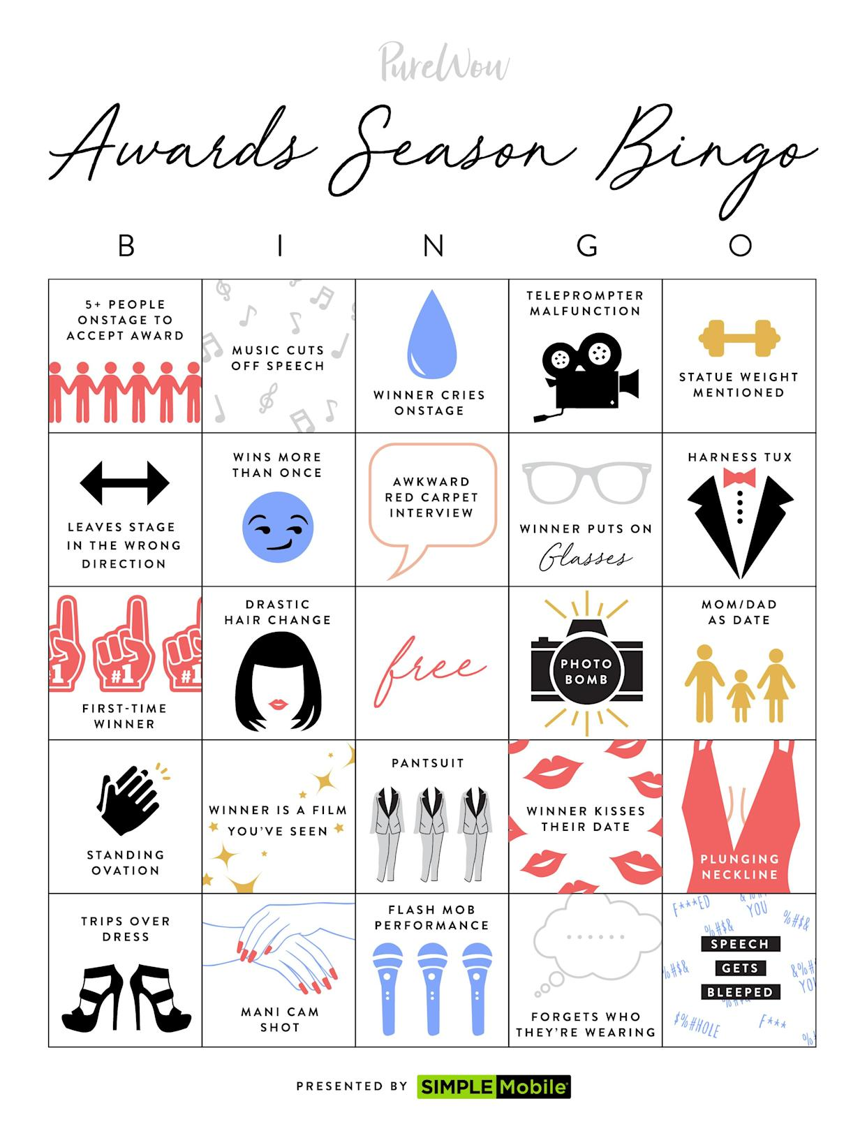 Close Out the 2019 Awards Season with Our Printable Bingo Board