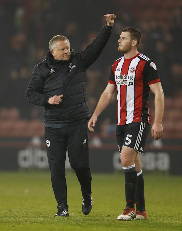 "Soccer Football - Championship - Sheffield United vs Middlesbrough - Bramall Lane, Sheffield, Britain - April 10, 2018 Sheffield United manager Chris Wilder celebrates after the game Action Images/Ed Sykes EDITORIAL USE ONLY. No use with unauthorized audio, video, data, fixture lists, club/league logos or ""live"" services. Online in-match use limited to 75 images, no video emulation. No use in betting, games or single club/league/player publications. Please contact your account representative for further details."