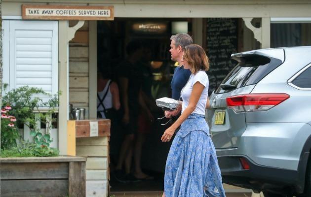Matt Damon and wife Luciana Barroso have been spotted leaving a local cafe in Byron Bay. Source: Media-Mode