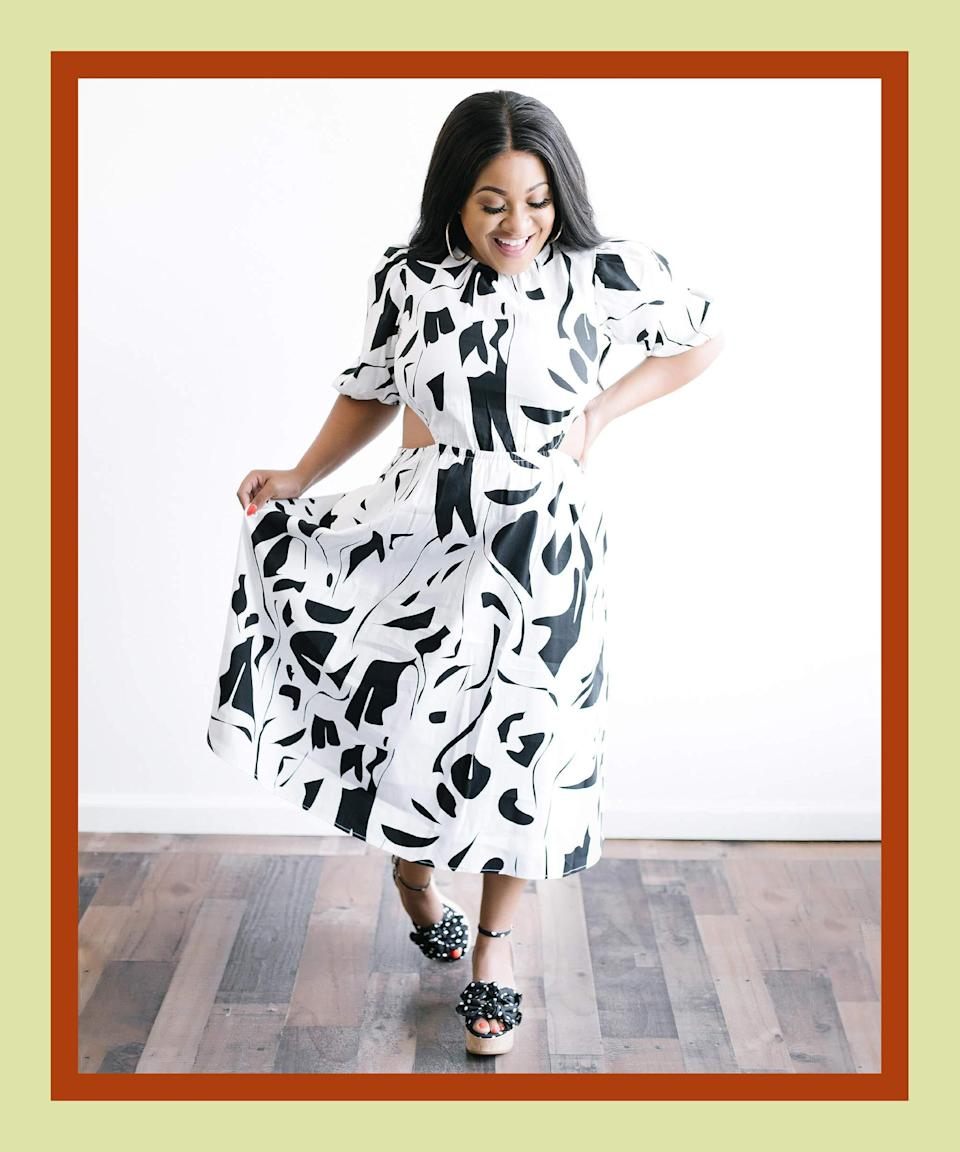 <strong>The Well-Ventilated Dress</strong><br><br>Looking cool and staying cool in the summer don't have to be mutually exclusive. With this cutout dress, Niagara Falls running down your back won't be an issue. To keep your subsequent looks featuring this frock similarly fresh, use the abstract print to mix in other monochromatic prints like the polka-dot shoe here, or bring in any color you like.<br>