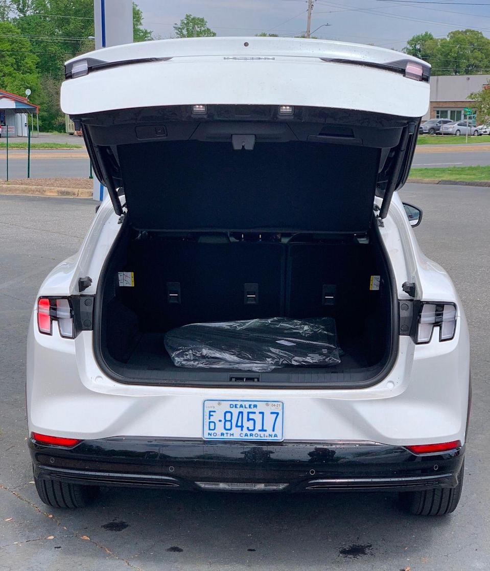 The Mach-E offers 29 cubic feet of cargo space behind the rear seats, and up to 60 with the back seats folded.