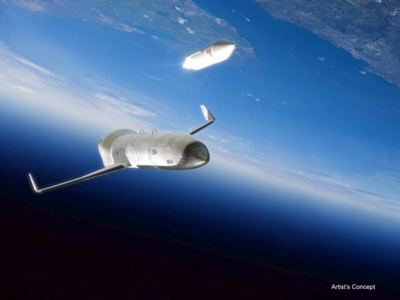 A rocket upper stage carrying a satellite payload launches into orbit in this artist's concept of the U.S. military's XS-1 Experimental Spaceplane, a project overseen by the Defense Advanced Research Projects Agency.