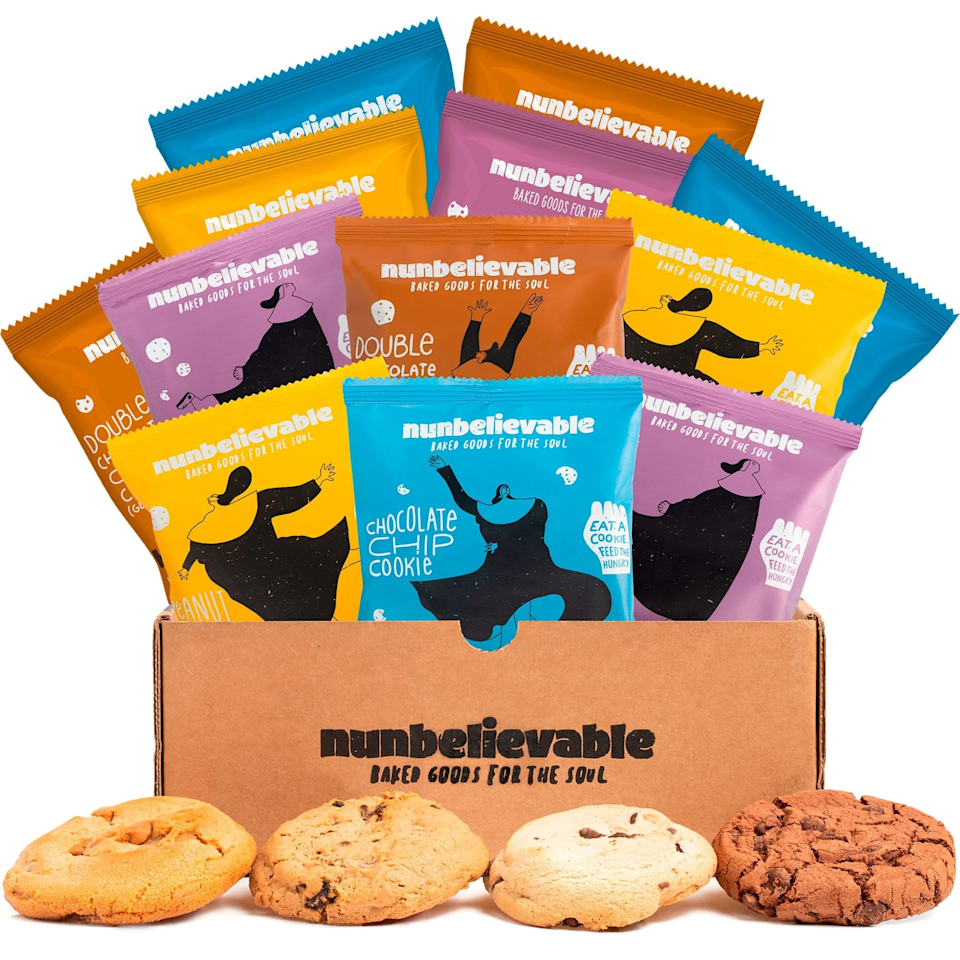 """<h3>Nunbelievable Assorted Cookie 6-Pack</h3><br>Nunbelievable is a company that makes cookies for a cause. With every artisanal cookie purchased, a meal is donated to a person in need. <br><br><strong>Nunbelievable</strong> Assorted Cookies, 6-Pack, $, available at <a href=""""https://go.skimresources.com/?id=30283X879131&url=https%3A%2F%2Ffave.co%2F3m5JBbx"""" rel=""""nofollow noopener"""" target=""""_blank"""" data-ylk=""""slk:Nunbelievable"""" class=""""link rapid-noclick-resp"""">Nunbelievable</a>"""
