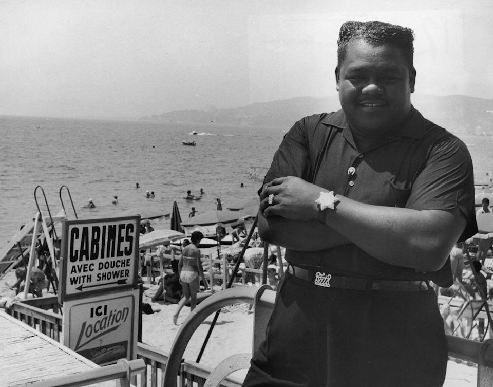 <p>Fats Domino at a French beach, circa 1955. </p>