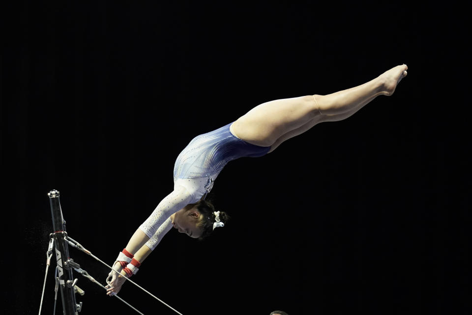FILE - Emily Lee performs on the uneven bars during the Winter Cup gymnastics competition in Indianapolis, in this Saturday, Feb. 27, 2021, file photo. Lee is among the 18 women competing at the 2021 U.S. Olympic Trials in St. Louis starting on Friday night, June 25. (AP Photo/Darron Cummings, File)