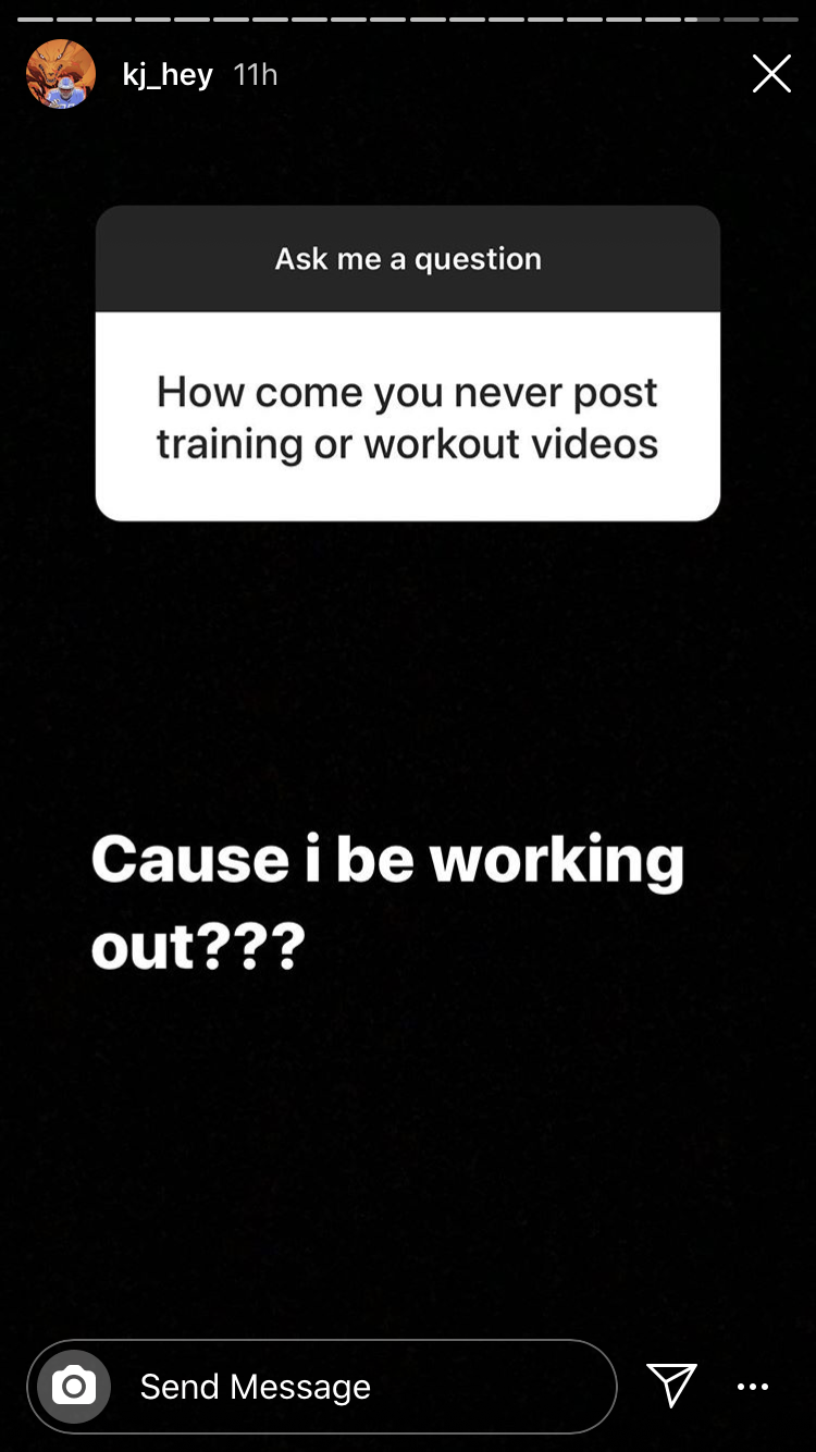 Screengrab from Kerryon Johnson's Instagram story in July, 2020.