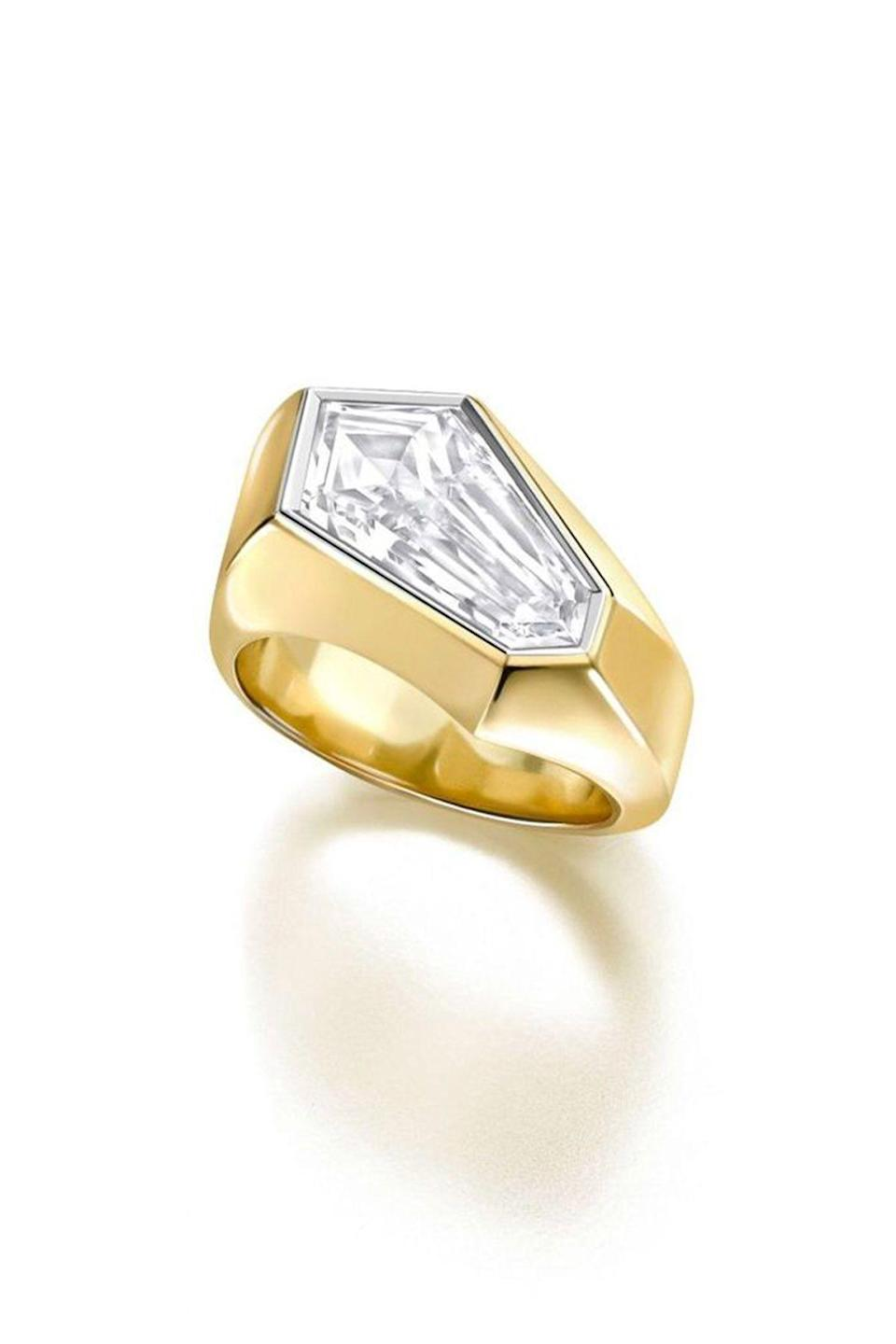 """<p><strong>Jessica McCormack</strong></p><p>jessicamccormack.com</p><p><a href=""""https://www.jessicamccormack.com/bridal/engagement-rings/diamond-kite-ring"""" rel=""""nofollow noopener"""" target=""""_blank"""" data-ylk=""""slk:Shop Now"""" class=""""link rapid-noclick-resp"""">Shop Now</a></p><p>For the alternative bride, Jessica McCormack created a geometric piece so stunning one won't even need a wedding band.</p>"""