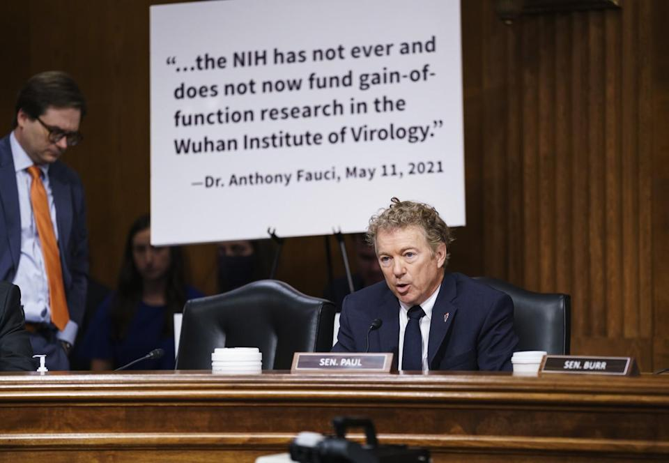 Sen. Rand Paul questions Dr. Anthony Fauci during a Senate committee hearing.