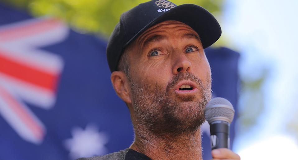 Celebrity Chef Pete Evans speaks during an anti-vaccination rally in Sydney on February 20, 2021. Source: AAP