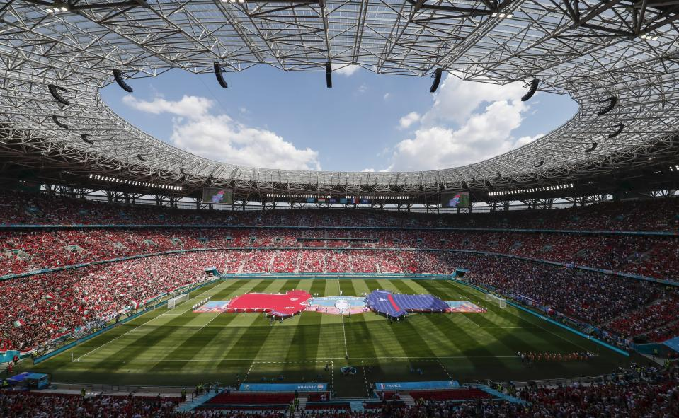 General view ahead of the Euro 2020 soccer championship group F match between Hungary and France at the Ferenc Puskas stadium in Budapest, Hungary, Saturday, June 19, 2021. (AP Photo/Laszlo Balogh, Pool)
