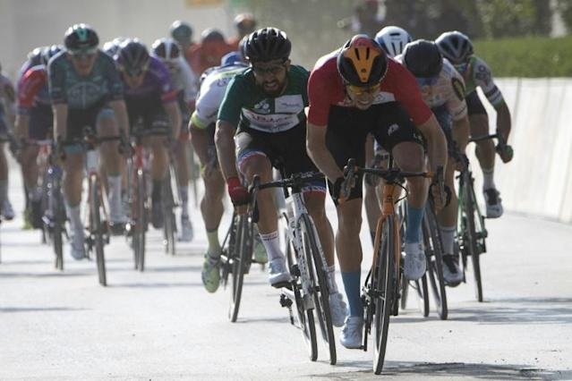Phil Bauhaus edged Nacer Bouhanni in a hectic sprint (AFP Photo/Anne-Christine POUJOULAT)