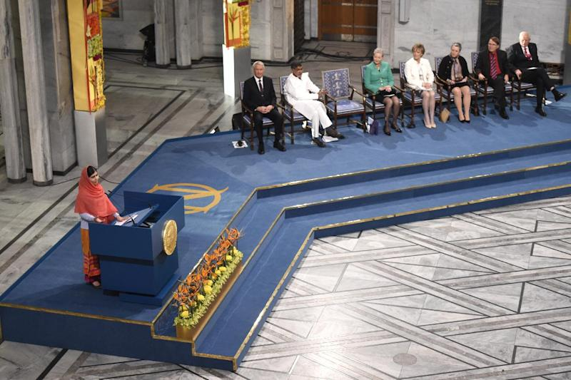 Nobel Peace Prize laureates Malala Yousafzai delivers her speech during the Nobel Peace Prize awarding ceremony at the City Hall in Oslo on December 10, 2014 (AFP Photo/Odd Andersen)