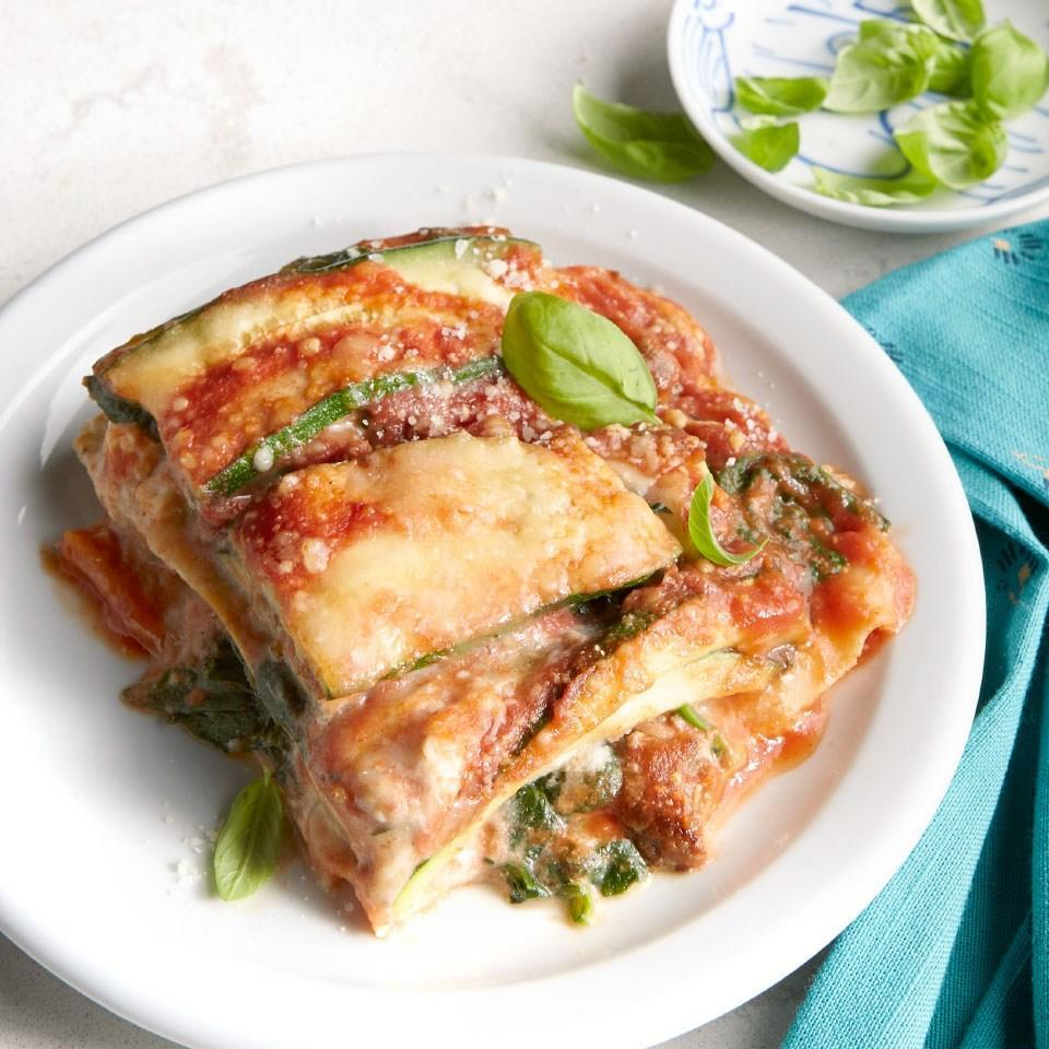 """<p>In this veggie-heavy lasagna recipe, zucchini slices fill in for some of the noodle layers, trimming carbs without sacrificing flavor. <a href=""""https://www.eatingwell.com/recipe/270562/turkey-sausage-zucchini-lasagna/"""" rel=""""nofollow noopener"""" target=""""_blank"""" data-ylk=""""slk:View Recipe"""" class=""""link rapid-noclick-resp"""">View Recipe</a></p>"""