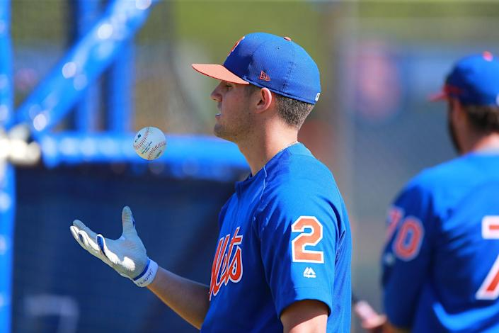 <p>New York Mets top prospect Gavin Cecchini tosses a ball during batting practice at the Mets spring training facility in Port St. Lucie, Fla., on Sunday, Feb. 26, 2017. (Gordon Donovan/Yahoo Sports) </p>