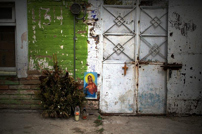 The place where a child was killed during crossfire between gunmen and the police in Ocotlan, Jalisco state