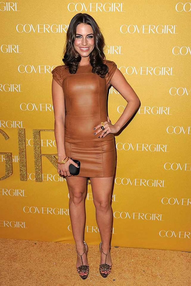 """""""90210"""" starlet Jessica Lowndes flaunted her fit figure in a skin-tight brown leather mini paired with strappy heels and a casual, wavy 'do. Jordan Strauss/<a href=""""http://www.wireimage.com"""" target=""""new"""">WireImage.com</a> - January 5, 2011"""